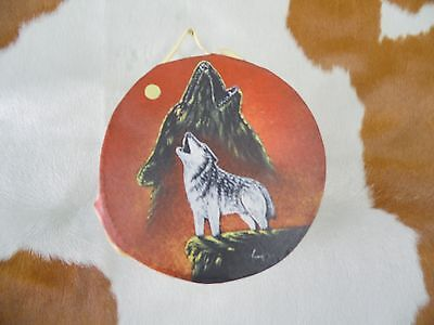 """Rawhide drums.Wolves, Hand painted mini 4""""drum, Souvenirs, Crafts,Gifts, art"""