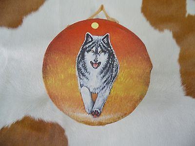 """Rawhide drums.Running Wolf, Hand painted mini 4""""drum, Souvenirs, Crafts, art"""