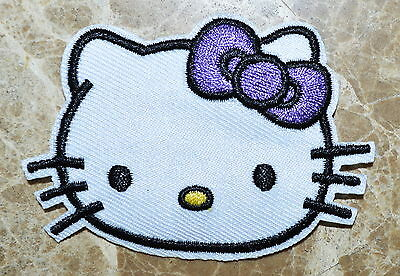 Purple bow-tie Hello Kitty Iron On Patch ,Made of Cloth , Quality NEW