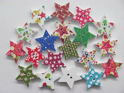 BB BUTTONS CHRISTMAS STARS WOOD mixed pk of 15 BULK sewing craft xmas star