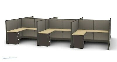 6 Person 8' x 8' L Shaped Desk Workstation Cubicles Office Furniture MANY COLORS