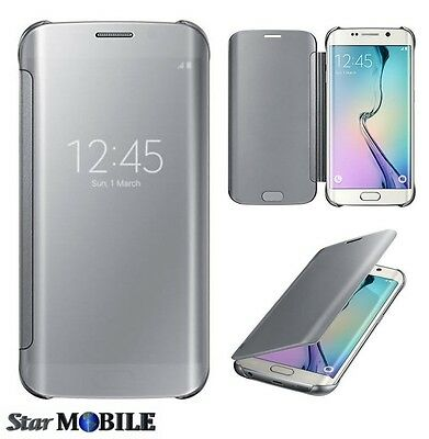 Samsung Galaxy S6 Edge G925 S-View Flip Cover Coque Etuis Housse Miroir Gris
