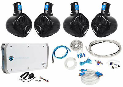 "4 Rockville RWB65B 6.5"" Marine Wakeboard Speakers+4 Channel Amplifier+Amp Kit"