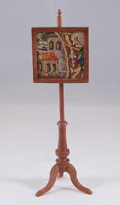 Miniature dollhouse fireplace pole screen with antique petit point - needlepoint