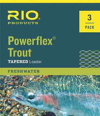 NEW RIO POWERFLEX 9FT 3X TROUT TAPERED LEADERS 3 PACK fly fishing loop strong