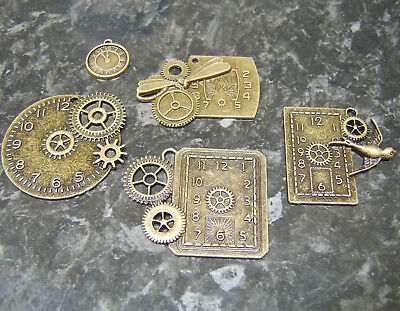Antique Bronze Steampunk Clock Gears Cogs Pendant Charms