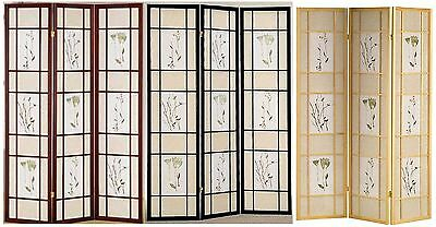 3 or 4 Panel Floral Accented Screen Room Divider, Wood Frame, Shoji Paper