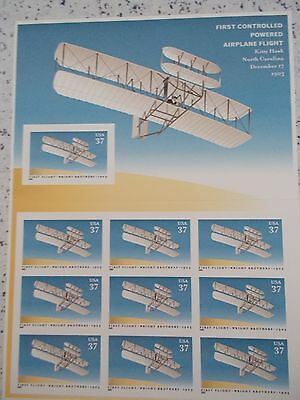 #3783 2005 1st CONTROLLED POWERED AIR FLIGHT Mint MHN PANE 10 37 Cent Stamps
