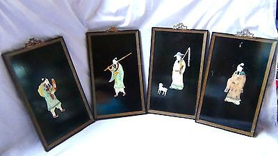Set Of 4 Antique Chinese Carved Hard Stone(Jade?)Figures On Wood Lacquer Plaques
