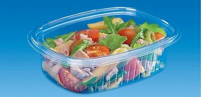 50 - 750cc CLEAR PLASTIC DISPOSABLE SALAD BOWLS WITH HINGED LIDS