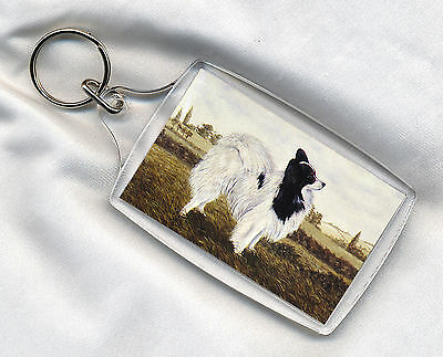 Key Ring Lovely Little Papillon Dog Print Image Insert Great Gift