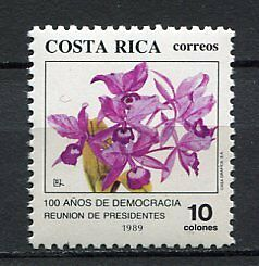 "35399) COSTA RICA 1989 MNH** ""100 Years of Democracy"" - Orchids"