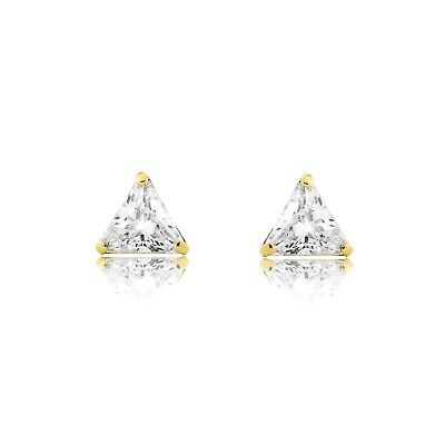 1 Ct Triangle Cut Created Diamond Stud Earrings 14K Solid Yellow Gold