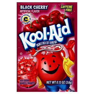 10 Packs Kool-Aid BLACK CHERRY Unsweetened Drink Mix Packets
