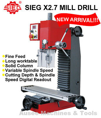 SIEG X2.7 Mill Drill Machine Variable Speed,Digital Readout,Fine Feed,Long table