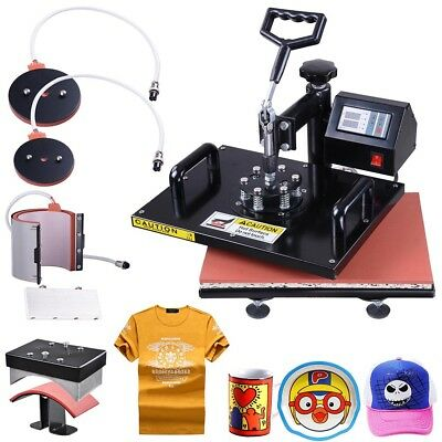 12x15 5in1 Digital Transfer Sublimation Heat Press Machine T-Shirt Mug Hat Plate