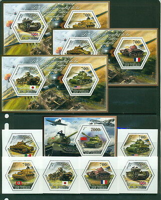 Chad MNH set - Tanks of World War II - 6val + s/s + 3 de-luxe s/s