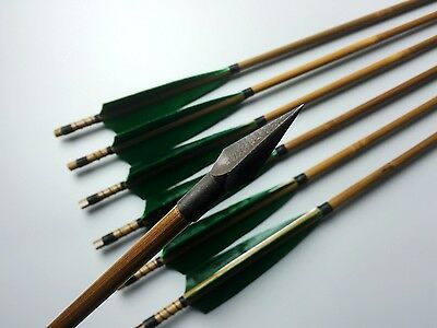 6X Handmade Hunting Green bamboo arrows shaft Broadheads For Archery Recurve bow