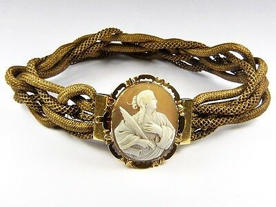 Superb Unusual Antique Victorian English Mourning Hair Choker Saint Cameo Signed