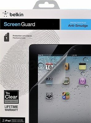 Belkin iPad 4, 3 & 2 Anti-Smudge Screen Protector/Guard/Overlay Tru Clear