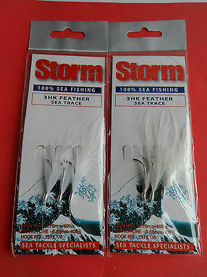 Storm 3 Hook White Mackerel Feather Rig  Sea Fishing Tackle 2 Sets