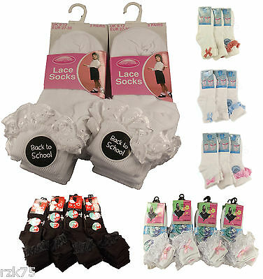 Pack Of 3 Girls Lace Socks,Chic Frilly Bow White Black Cotton Ankle School Socks