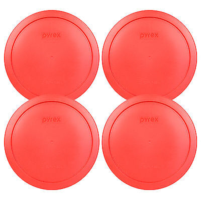 Pyrex 6/7 Cup Red Plastic Round Storage Lid Cover 7402-PC 4Pk for Glass Bowl New
