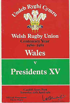 WALES v PRESIDENTS XV 1981 RUGBY PROGRAMME