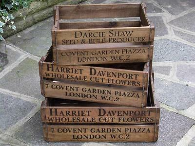 Fabulous Set Three 3 Large Graduating Vintage Antique Style Wooden Flower Crates