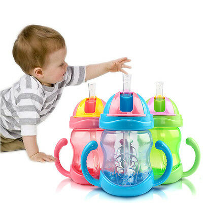 240ml Baby Cup Handle Children Learn Drinking Straw Bottle Sippy Cup Infant 1PCS