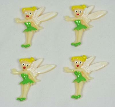 BB FLATBACK TINKERBELL FAIRY pk of 4 disney princess cabochons resin hair bow