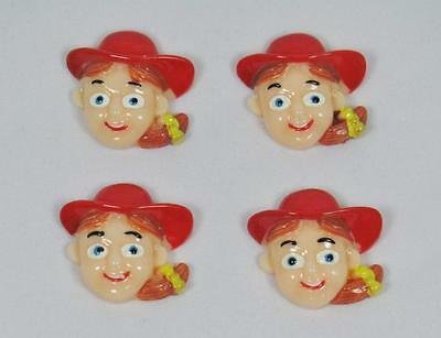 BB FLATBACK JESSIE TOY STORY pk of 4 cabochons resin girls hair bow doll