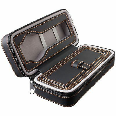 Watch Travel Case Zip-Up Black Leatherette with Grey or Orange Stitching Colour
