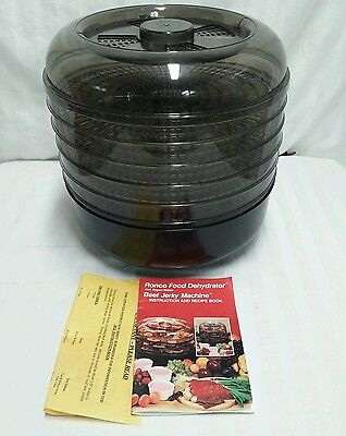 Ronco 187 04 5 Tray Food Dehydrator Jerky Maker With Instructions