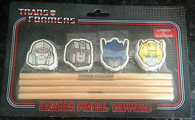 New Transformers Autobots vs Decepticons 4 HB Pencils & 4 Shaped Eraser Toppers