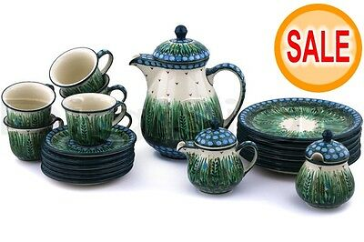 Polmedia Polish Pottery 51 oz Stoneware Tea or Coffee Set for Six H5961G Unikat