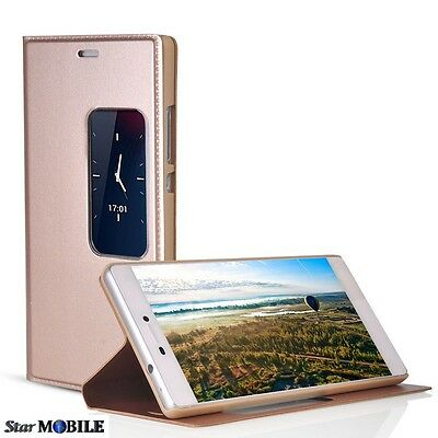 Huawei  P8 S-View Flip Cover Coque Case Etuis Housse Gold