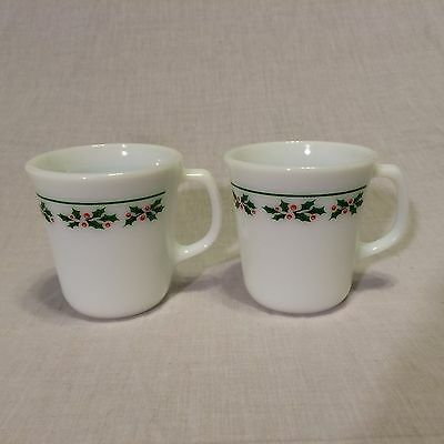Corelle HOLLY DAYS (2) Coffee Cup Mugs Pyrex/Corning Milk Glass ~ WINTER HOLLY