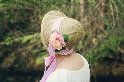 Regency Bonnet, Jane Austen, pink, white, stripes, pink orange ombre flower