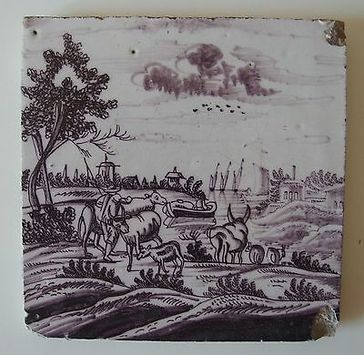 "18th century DUTCH DELFT ""OPEN AIR"" TILE (c.1725-1750) OPENLUCHTJE"