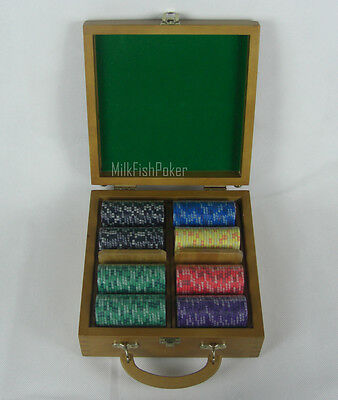 NEW DESIGN! 200 EPT Ceramic Poker Chips - With Wooden Case, Cards and Dice