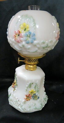rare shape cosmos / consolidated miniature lamp / ball GWTW shade / hand painted