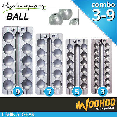 COMBO Size 3 5 7 9 Fishing Ball Sinker Mould - Hemingway