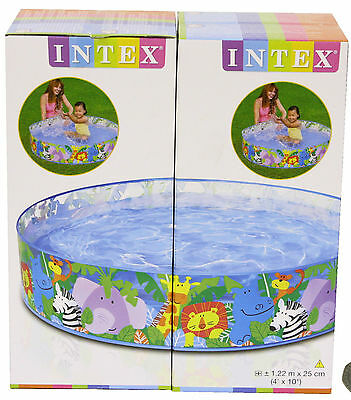 """Intex Happy Animals Clear View Snapset Paddling Pool 4' x 10"""""""