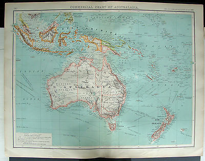 "Australasia Commercial Chart Antique Map 1900 Bartholomew 14""x18"" 358x463mm"