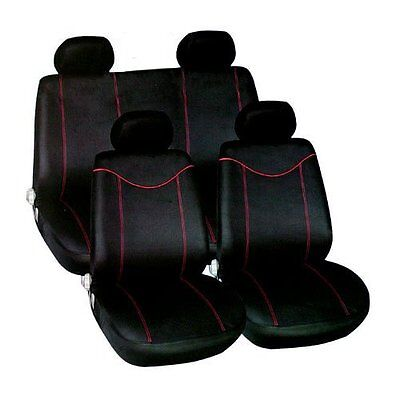 Universal 10 Pc Black / Red Car Seat Covers Protectors Full Rear Cover Set New