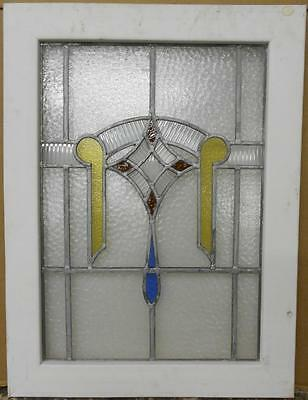 "MID SIZED OLD ENGLISH LEADED STAINED GLASS WINDOW Pretty Abstract Drop 21"" x 28"""