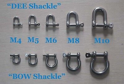 A2 Stainless Steel Shackles, BOW or D Shaped for DIY 2PCS 4mm5mm6mm8mm10mm