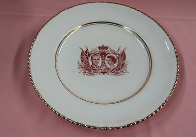 """1951 QUEEN ELIZABETH CORONATION 10"""" PLATE GOLD GUILDED Visit To Canada GREAT"""