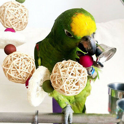 Bird Parrot Cage Chew Bite Climbing Hang Swing Bell Toys Macaw Budgie Cockatiel
